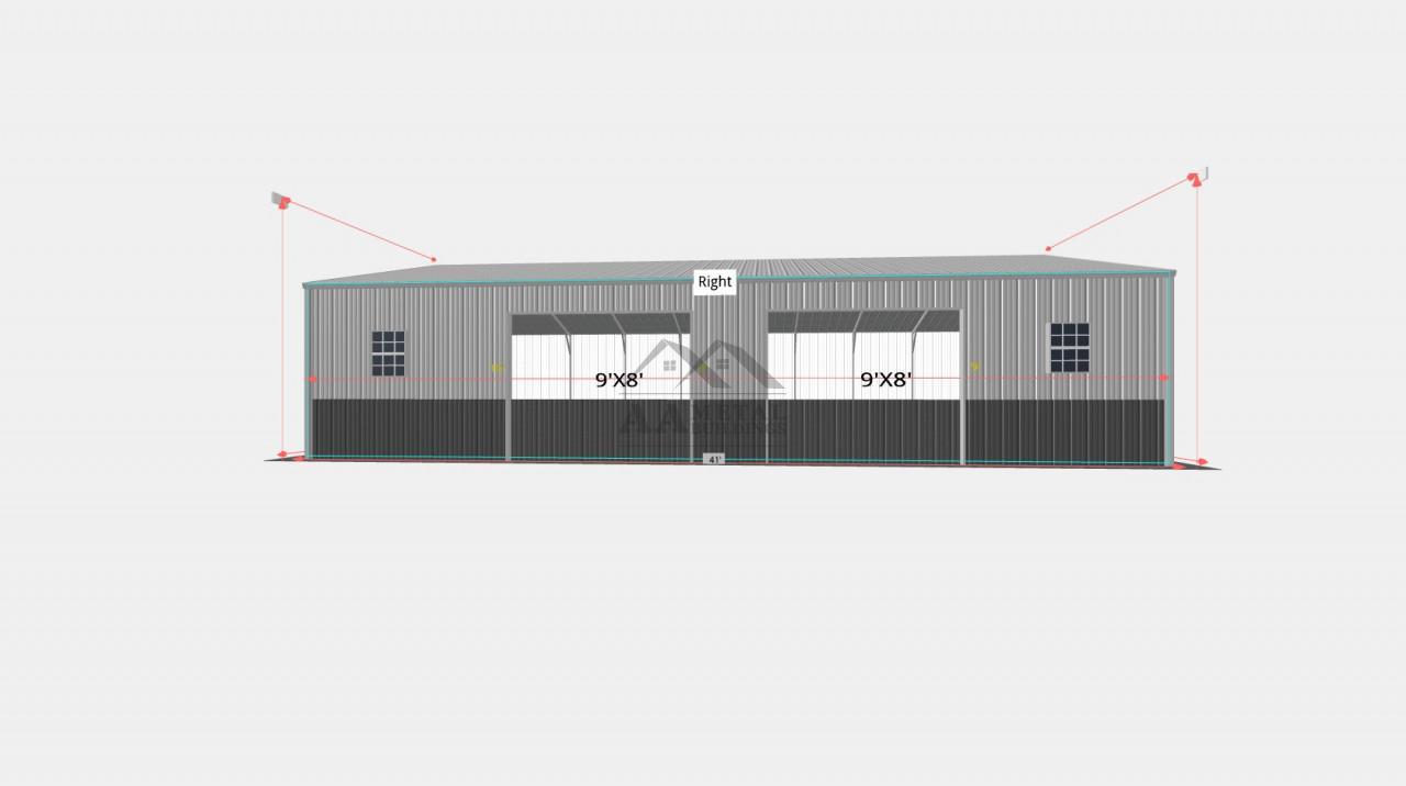 28x41' Side Entry Metal Garage