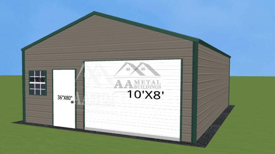 22x30 Vertical Roof Metal Garage