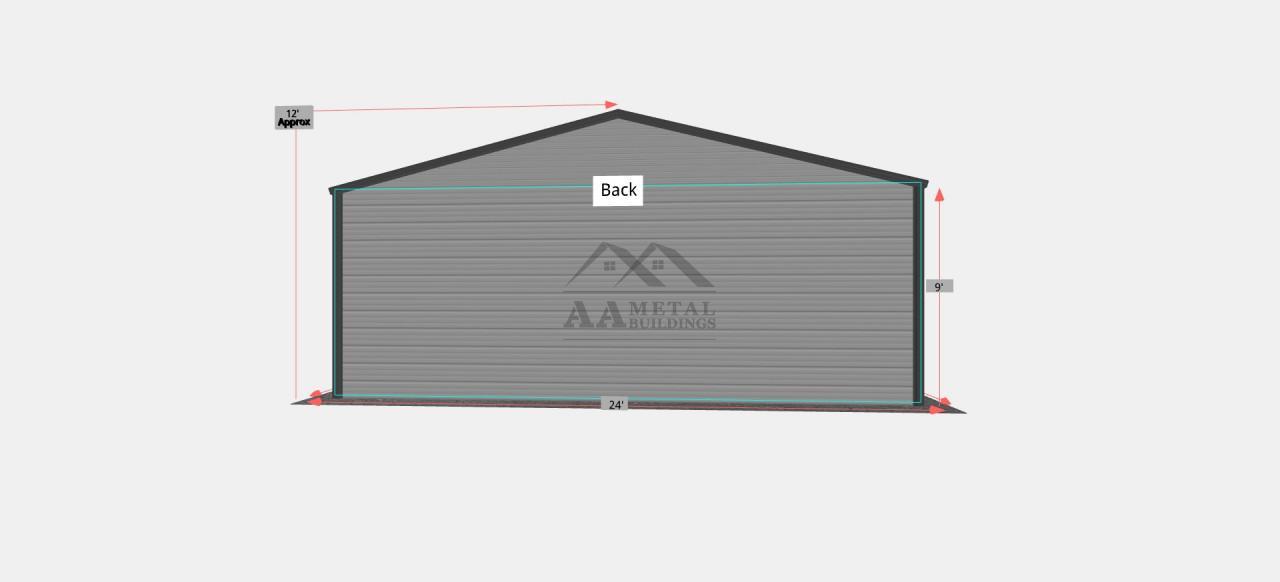 24x30 Two Car Metal Garage