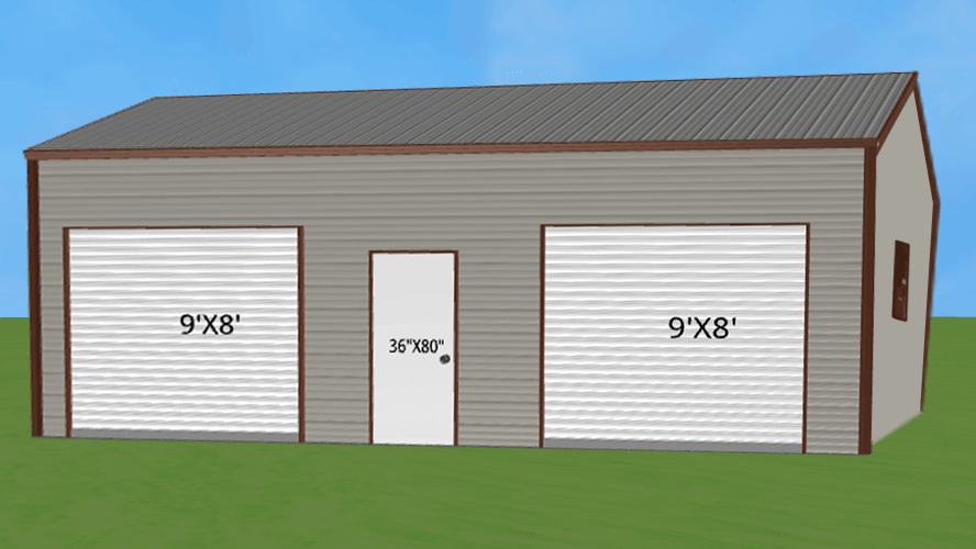 24x30 Two Car Steel Garage