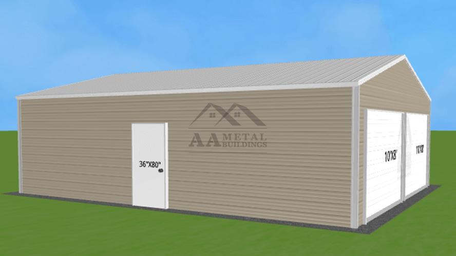 24x30 Vertical Roof Steel Garage