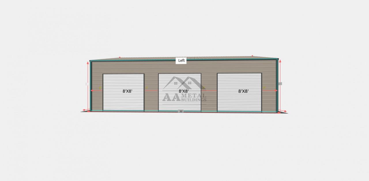 24x35 Side Entry Steel Garage