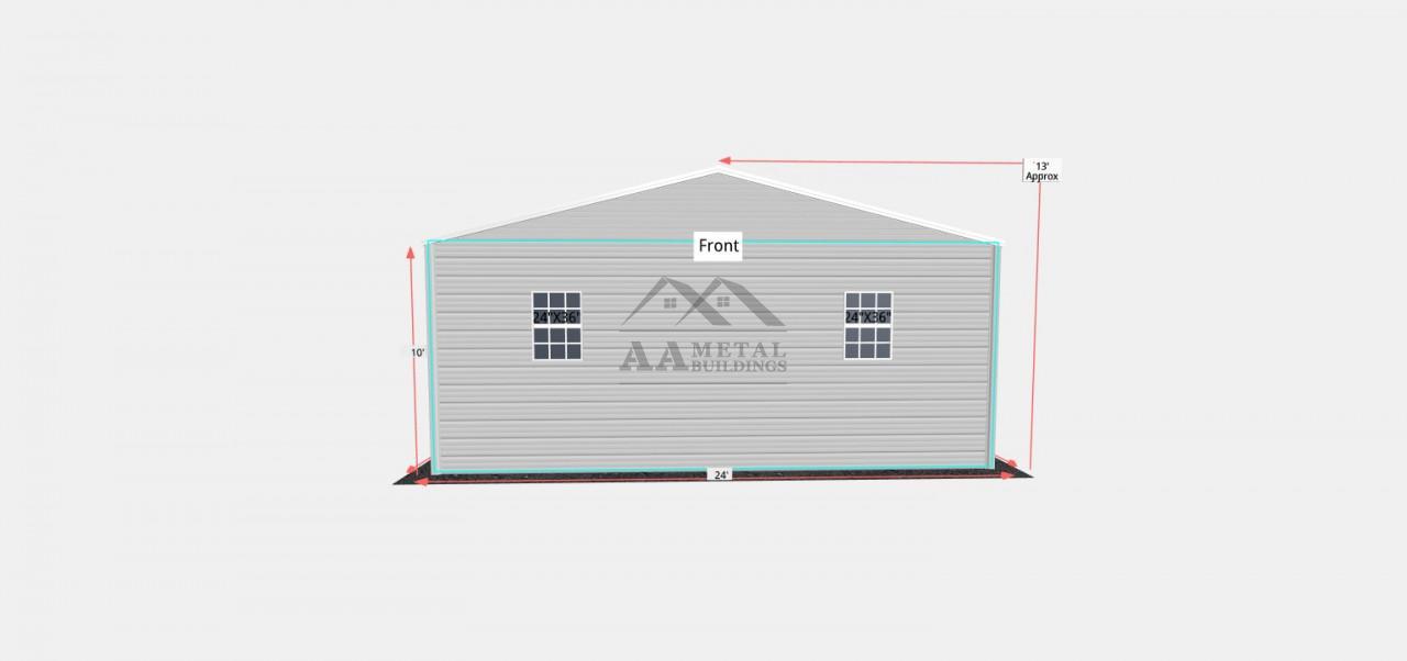 24x35 Vertical Roof Steel Garage