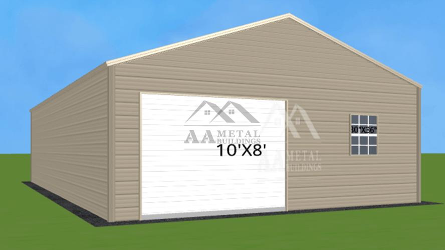24x35 Enclosed Metal Garage