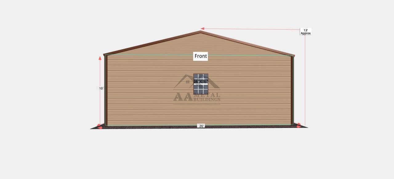 26x40 Vertical Roof Steel Garage