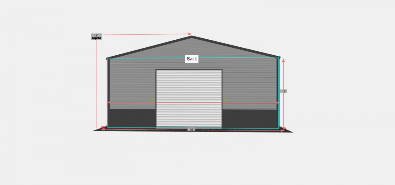 26x55 Side Entry Metal Garage