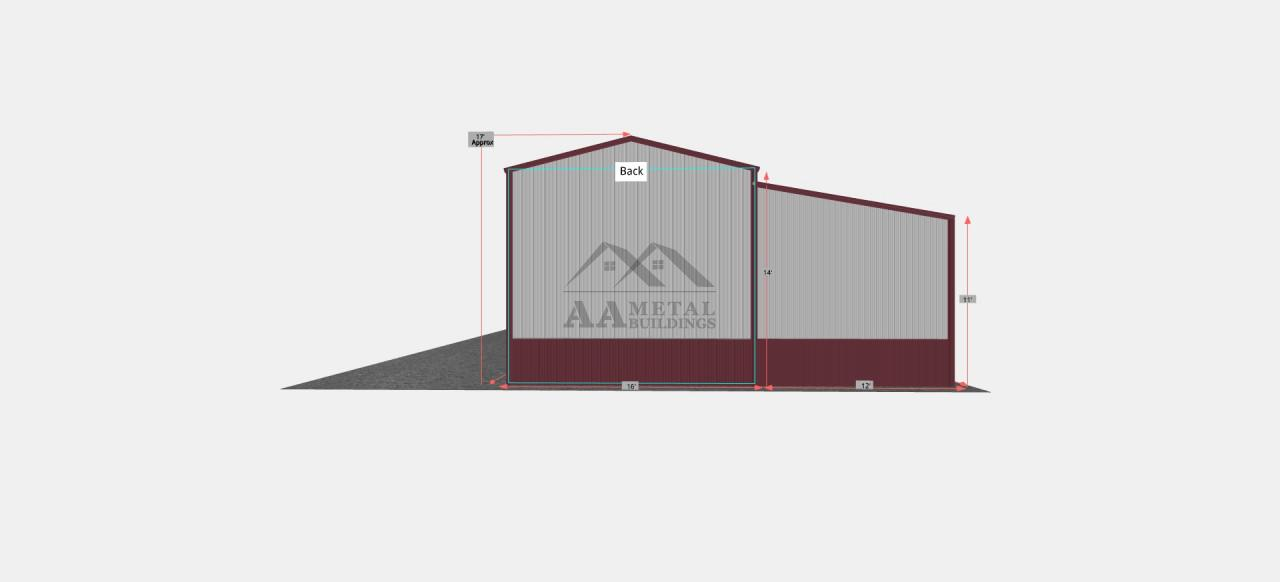 28x50 Steel Garage with Lean-to