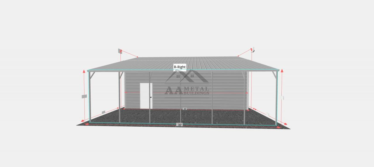30x30 Vertical Roof Metal Garage with Lean-to