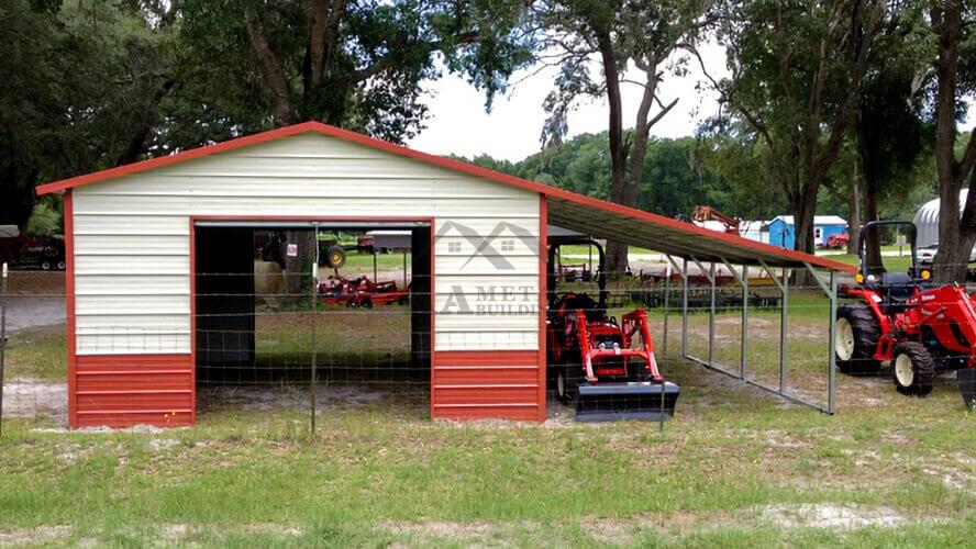 32x25 Steel Garage With Lean-to