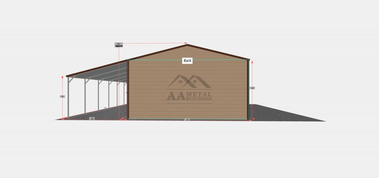 36x30 Commercial Building with Lean-to
