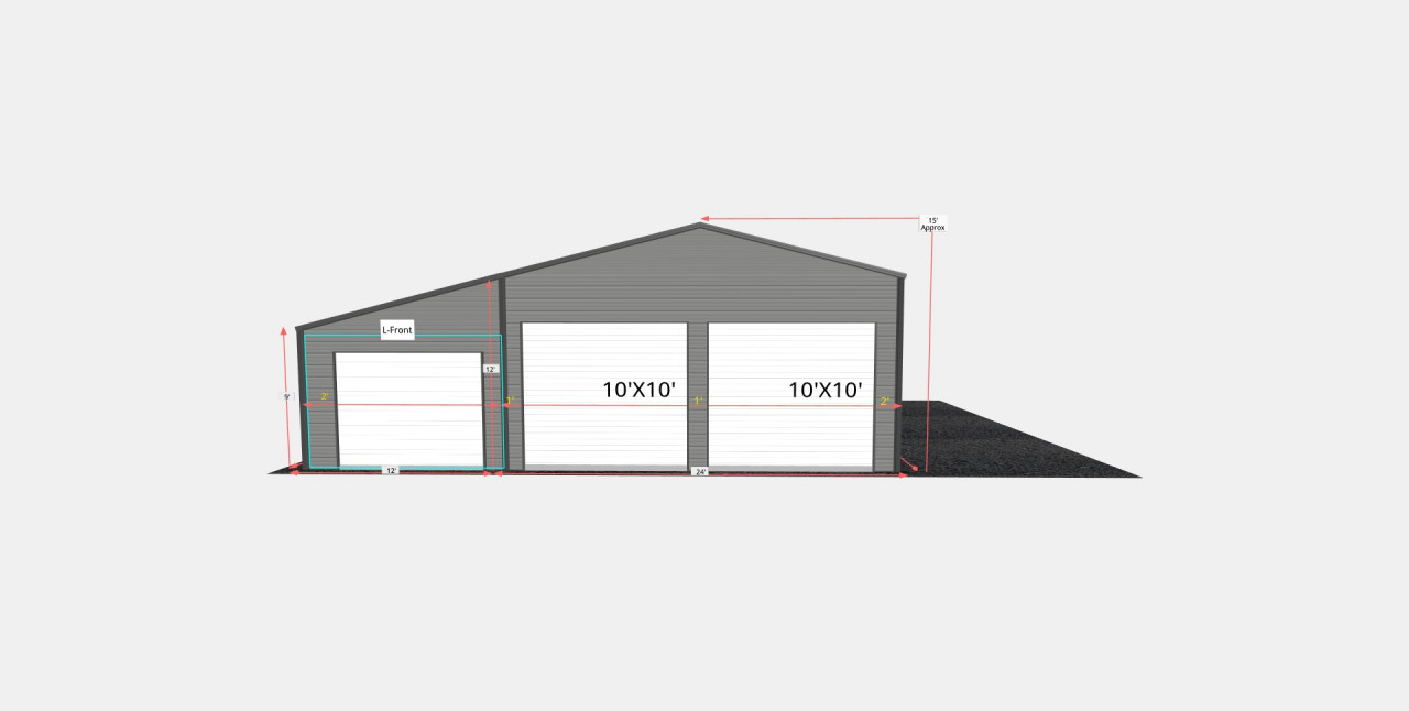 36x30 Metal Garage With Lean-to