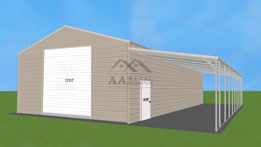 36x45 Steel Garage With Lean-to