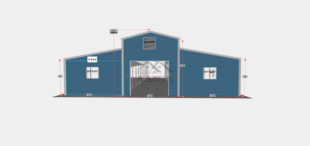 36x60 Raised Center Barn