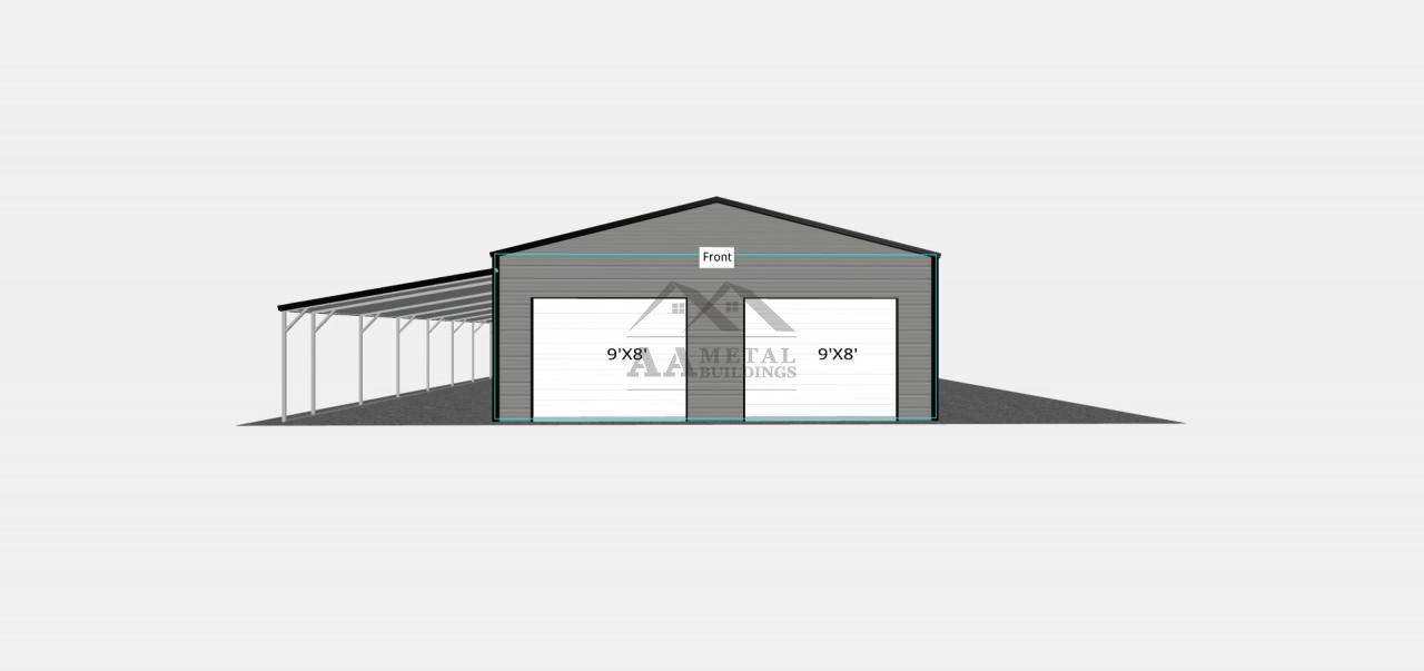 38x35 Metal Garage With Lean-to