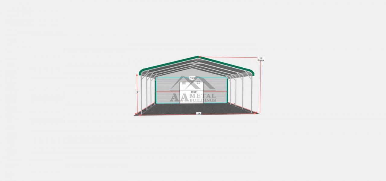 24x30 Regular Roof Utility Carport
