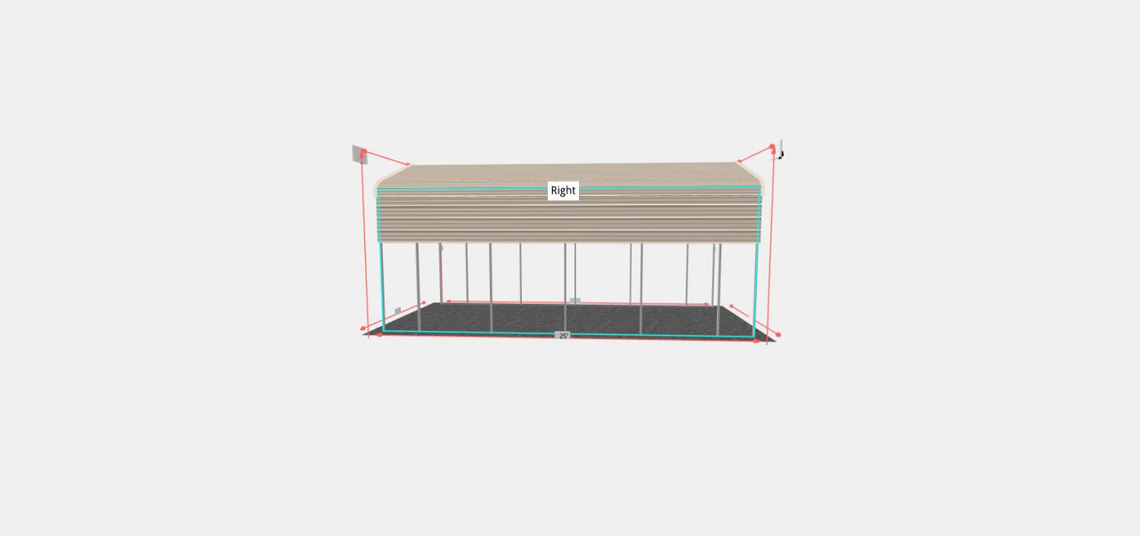 12x25 Regular Roof RV Carport