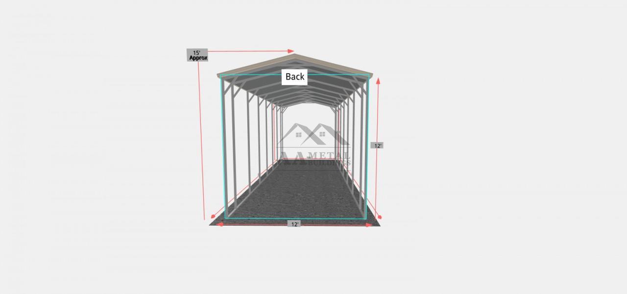 12x35 Vertical Roof Style RV Carport