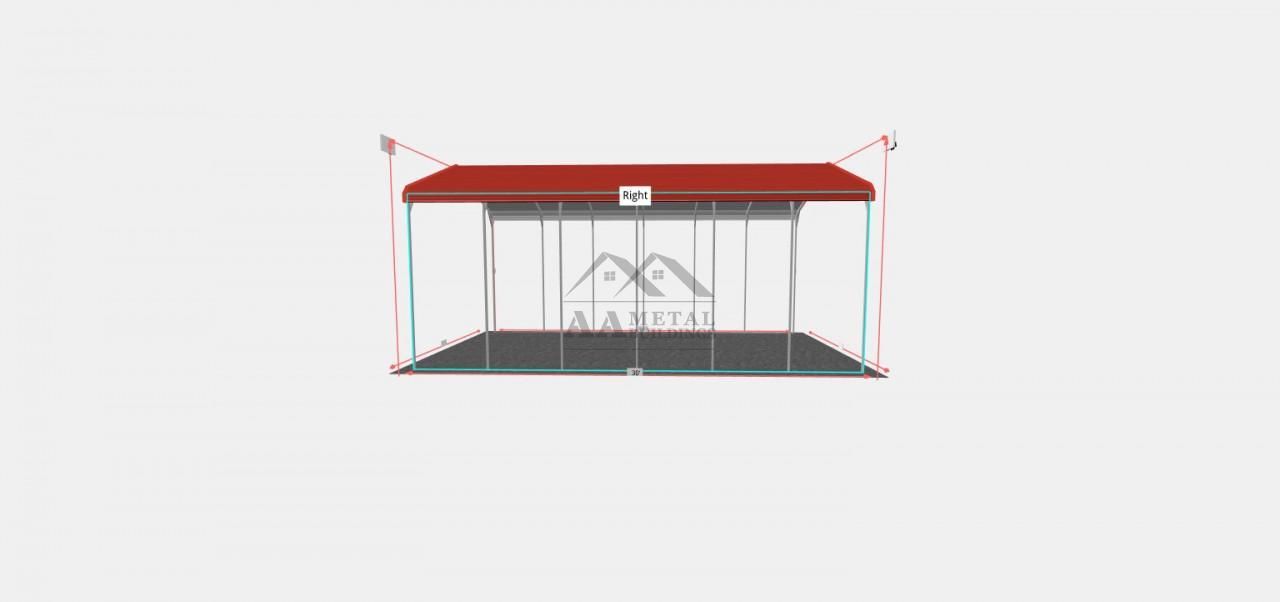 18x30 Regular Roof Style RV Carport