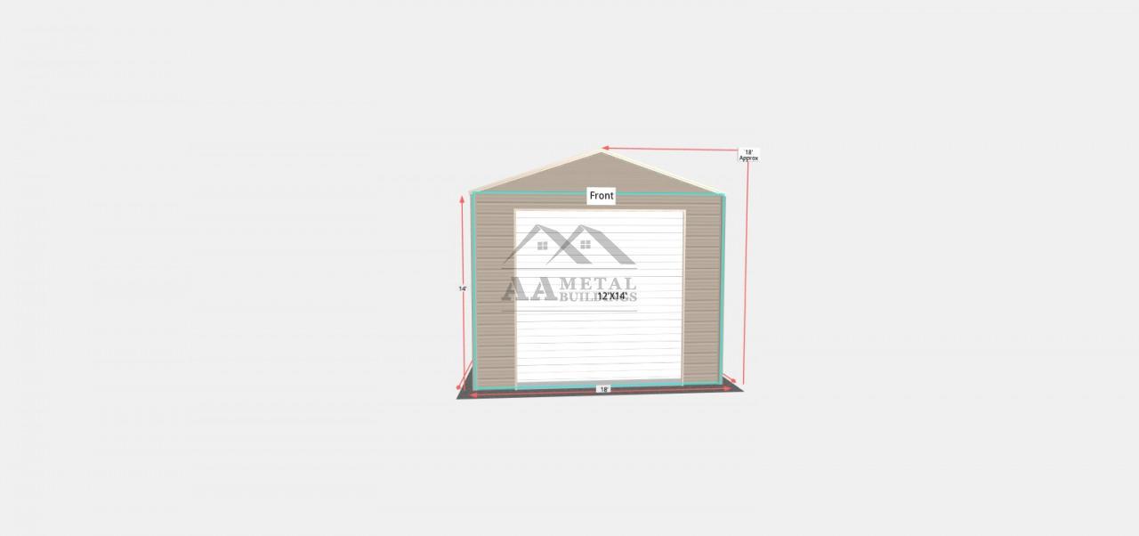 18x55 Vertical Roof Metal Garage