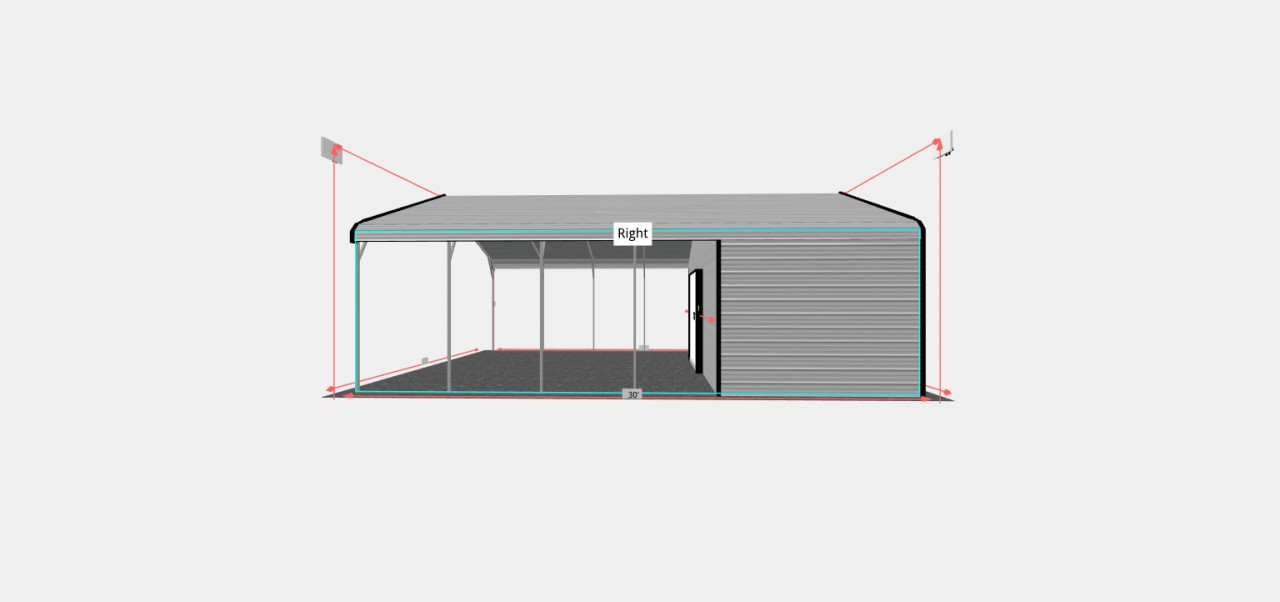 24x30 Regular Roof Style Utility Carport